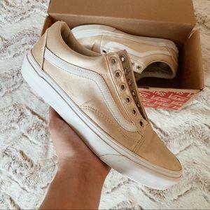 Rose Gold Satin Lux Low Top Vans Sneakers 7M
